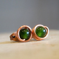 Green Aventurine Stud  Earrings Copper Wire by contempojewels
