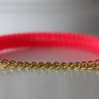 Neon Pink Friendship Bracelet with Gold by PunchBracelets2012