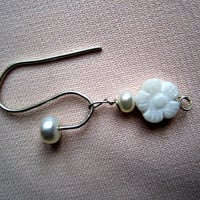 White Pearl and Flower Earrings