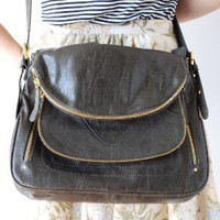 New! Zippered Satchel in Gray | Kind Boutique