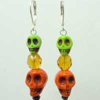Earrings with Skulls Done in Orange and Lime Green Magnasite and Czech Glass Beads