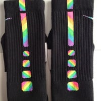 Custom ZIG ZAG Rainbow Nike Elite Socks Sz Large (8-12)