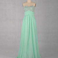 Chiffon Bridesmaid Dress,Sleeveless Floor-length Chiffon Prom Dress With Paillette Beading