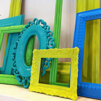 Frame Collage, Bright and Chic Frames Set, Gallery Wall Frames, Green Frames, Upcycled Home Decor, Funky Vintage,