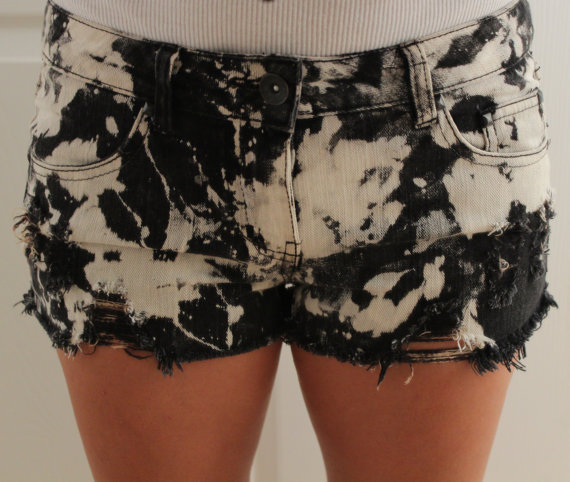 Jean cutoff black bleached white shorts by p4pministry on Etsy