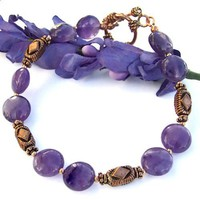 Handmade Amethyst Bracelet Copper Purple Gemstone Beaded Jewelry OOAK