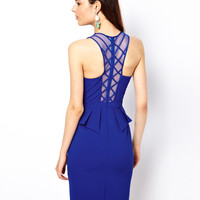 Back Detail Peplum Pencil Dress