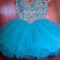 Sherri Hill Short Turquoise Prom Dress Size 4 Beaded! 80$ off original price!