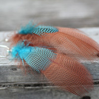 Colorful Feather Earrings : Blue and Bronze