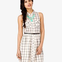 Belted Grid Pattern Dress