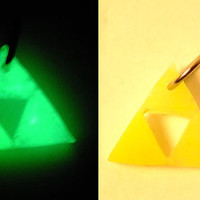 Glow In The Dark Miniature Triforce Charm Necklace or Keychain with UV keylight