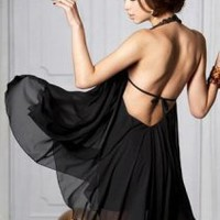 HEGO Backless Black Dress W004H - Designer Shoes|Bqueenshoes.com