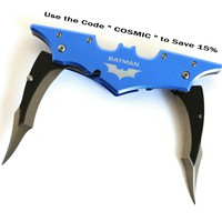 Blue BATMAN Double Bladed Knife