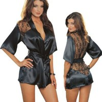Amazon.com: Sexy Black Kimono Intimate Sleepwear Robe Set - 3 Piece Lingerie: Clothing