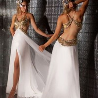 A-line V-neck White Floor-length Beads Prom Dress With 5315