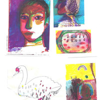 Set Of Five Art Prints / Small Pack Of Print Reproductions Of Five Colorful Artworks by Rina Miriam Drescher