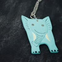 Blue Elephant Necklace by JageInACage on Etsy