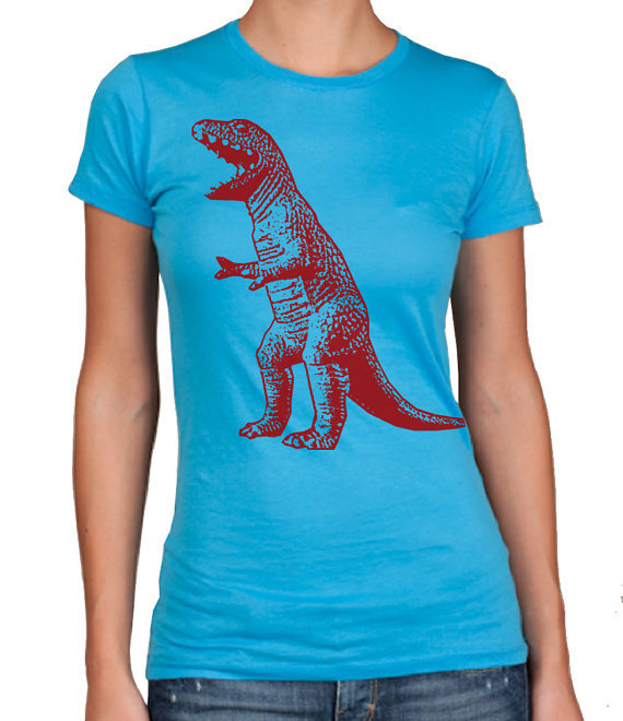 Womens DINOSAUR TShirt  american apparel shirt by happyfamily