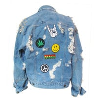 Oversized Jacket/  Studded Denim Jacket / Distressed Jacket / 90s / Patches / Punk /Grunge