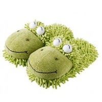Fuzzy Slippers - Green Frog (Adults)