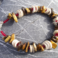 Egg-Lover's Delight -  Antique Ostrich Eggshell and Tiger's Eye Stone Bracelet