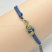 Bronze Music Bracelet Vintage Style High Quality Navy Blue Wax Rope Bracelet Fashion Women&#x27;s Bracelet  Friendship Gift  RZ0121