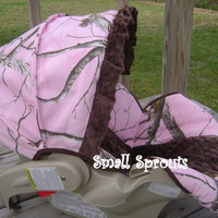 Custom Boutique Real Tree Pink Infant Car Seat by smallsproutsbaby