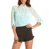 Roll-Cuff Chiffon Button-Down Blouse: Charlotte Russe