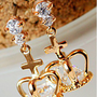 The cross Crowne zircon earrings - Earrings