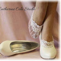 Lace socks for heels white  lace great for by CatherineColeStudio