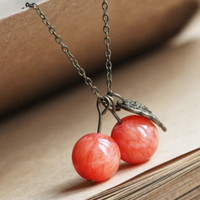 Lovely Red Cherry Necklace