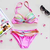 Colorful Sexy Rainbow Bikini For Girls