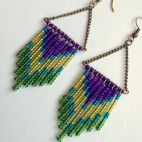 Peacock Chevron Earrings by OliveTreeHandmade on Etsy