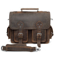 Thick Leather Briefcase Messenger Laptop by TheLeatherBriefcase