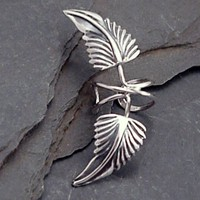 Sterling Leaf Ear Cuff   GREEN MAN   Silver by SunnySkiesStudio