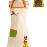 Owl Cook Dinner Apron and Mitt Set | Mod Retro Vintage Kitchen | ModCloth.com