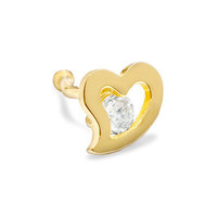 022 Gauge Heart Nose Stud with White Cubic Zirconia in 14K Gold -  - View All - PAGODA.COM