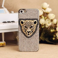 3D Leopard Face Bling Crystals Animal Phone Case for iPhone 5 4S 3GS - Crystals iPhone Cases - Apple iPhone Cases - Phone Cases Personalized Couples Jewelry | Occasions Uncommon Gifts | Unique Phone Cases | Worldwide Shipping