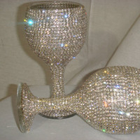 Custom designed handmade pair of wine glasses with Czech rhinestones