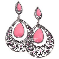 Vintage Pink Rhinestone& Acrylic Teardrop Filigree Dangle Earrings at Online Cheap Vintage Jewelry Store Gofavor