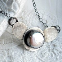 Blister Pearl in Handforged Custom Sterling Setting Necklace