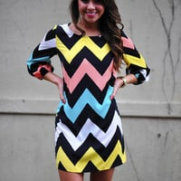 Restock:Hip In Her Chevron Dress: Multi | Hope's
