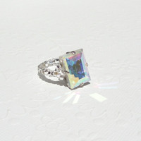 Emerald Cut Swarovski Crystal Ring, Rainbow Crystal Ring, Swarovski Crystal Ring