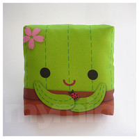 Decorative Pillow, Mini Pillow, Kawaii Print, Toy Pillow  - Cuddly Cactus