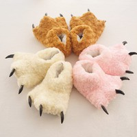 Fuzzy Khaki Dinosaur Paw Animal Slippers [3312] size M