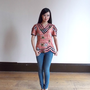 ethnic shirts / orange top / asian print top / printed shirt