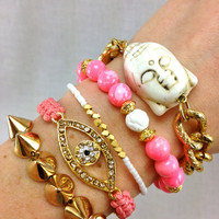 On Wednesdays We Wear Pink Bracelet Stack Set