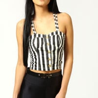 Tara Striped Denim Bralet