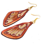 Butterfly wings leather earrings. Brown and gold color. Leather jewelry