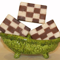 Chocolate Vanilla Handmade Artisan Soap checkerboard squares